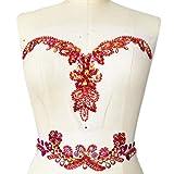 Handmade Beaded V-Neck Sequin Sew On Neckline Rhinestone Crystal Trim Bridal Applique Design Patch Sewing for Wedding Dresses DIY Belt Decoration (Red) (Color: Red)