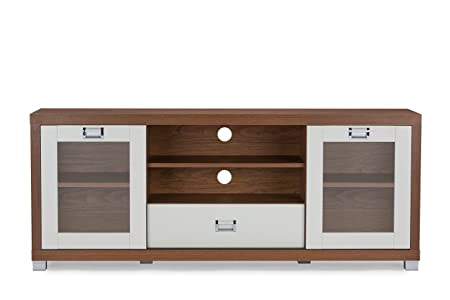 Baxton Studio Matlock Modern Two-Tone TV Stand with Glass Doors, Walnut/White