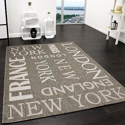 Teppich Modern City Sisal Optik Flachgewebe Designer Teppich in Grau, Grösse:120x170 cm