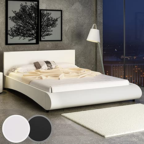 Miadomodo - LEBT04-1creme - Cama de piel sintética 140 x 200 cm - Blanco crema - Dos colores a elegir