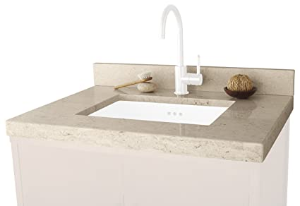 "Ronbow 303331-1-MY WideAppeal Marble Vanity Top with 2"" Thickness, 31"" x 22"", Cream Beige"