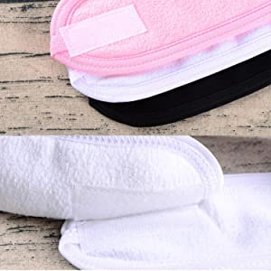Spa Facial Headband Whaline Make Up Wrap Head Terry Cloth Headband Adjustable Towel with Magic Tape, 3 Pieces (White, Black, Pink)
