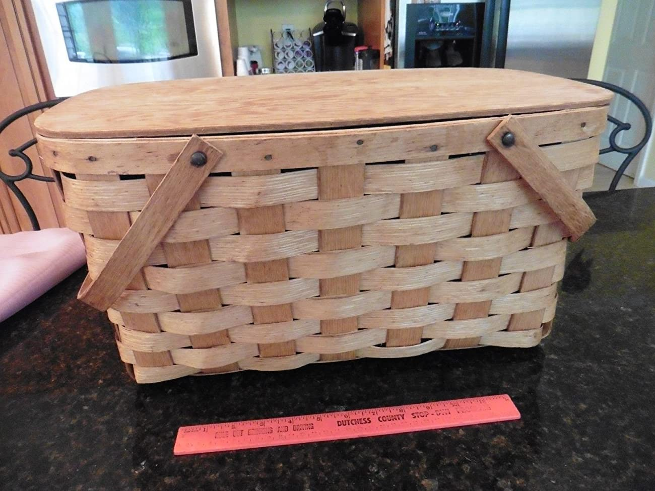 Vintage Picnic basket wooden X-large 2 handles hinged top apx 20