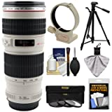 Canon EF 70-200mm f/4 L USM Zoom Lens with 3 UV/CPL/ND8 Filters + Ring Collar + Tripod Kit for EOS 6D, 70D, 5D Mark II III, Rebel T3, T3i, T4i, T5, T5i, SL1 DSLR Cameras