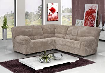 BRAND NEW CANDY FABRIC CORNER SOFA IN MOCHA BROWN OR SLATE GREY **FOAM FILLED**