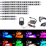 AMBOTHER 8Pcs Motorcycle LED Light Kit Strips Multi-Color Accent Glow Neon Lights Lamp Flexible with Remote Controller for Harley Davidson Honda Kawasaki Suzuki Ducati Polaris KTM BMW, 1 Year Warranty (Color: 8 Pcs)