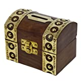 Antique Inspired Safe Money Box Piggy Bank Wooden Toys And Game by ShalinIndia (Color: Brown, Tamaño: Brown)