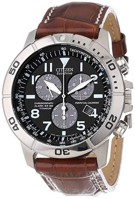 "Citizen Men's BL5250-02L ""Eco-Drive"" Leather and Titanium Watch-奢品汇 
