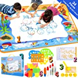 SeamanMAC Water Aqua Doodle Drawing Mat - 34 Pieces Magic Toddles Large Painting Pad - Educational Coloring Writing Toys Gift for Kids Age 2+ (39.3