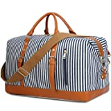 c0eb6bad3366 Weekend Travel Bag Ladies Women Duffle Tote Bags PU Leather Trim Canvas Overnight  Bag Luggage (Color  Blue