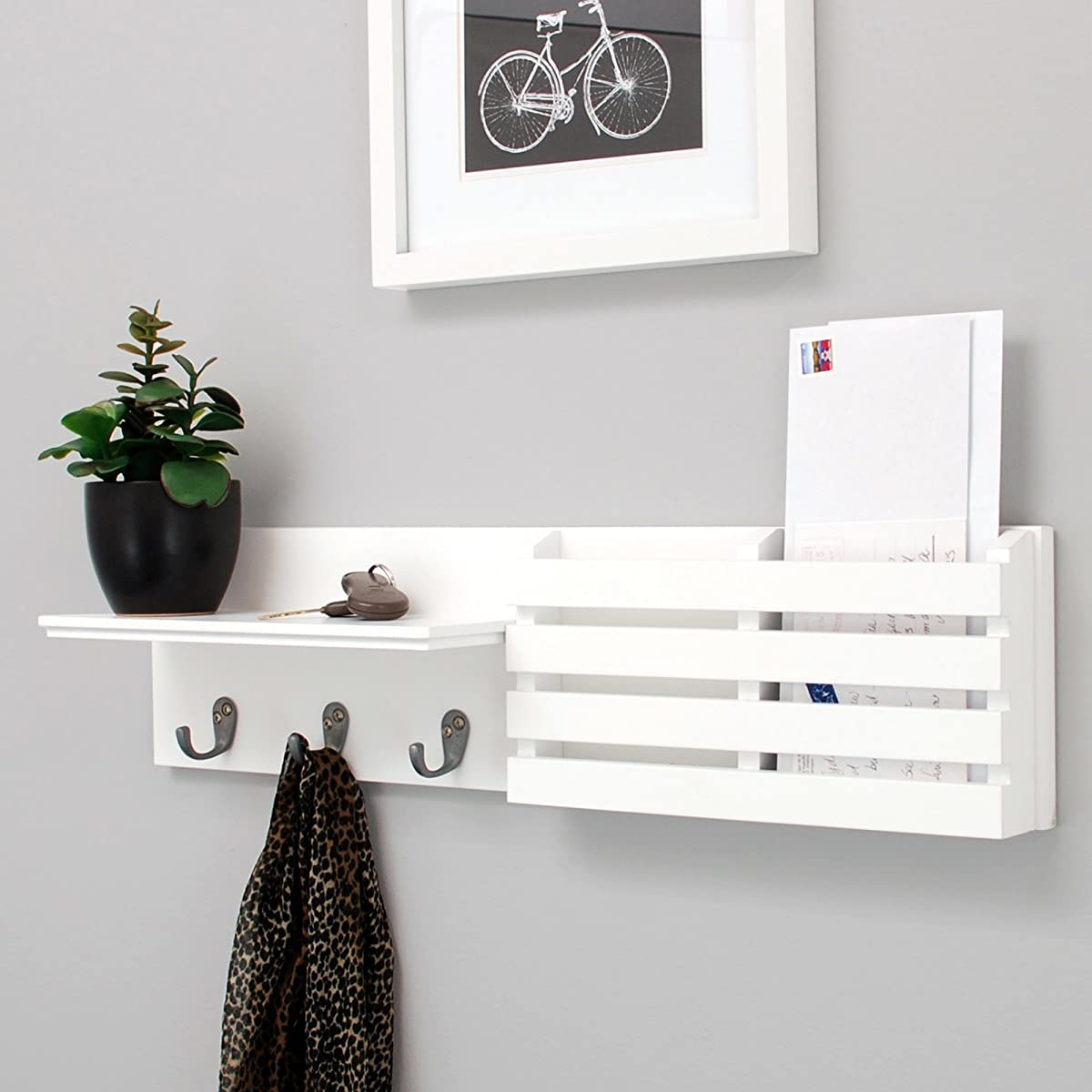Kiera Grace Sydney Wall Shelf and Mail Holder with 3 Hooks, 24-Inch by 6-Inch, White