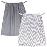 Teamoy (2 Pack) Reusable Pail Liner for Cloth Diaper/Dirty Diapers Wet Bag, Gray Chevron+Slate (Color: Gray Chevron+Slate, Tamaño: 2pcs/pack)