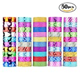 Glitter Washi Tape,50 rolls Decorative Tape for Arts and Crafts, Scrapbook,DIY,Gift Wrapping,Party Supplies, Multi-purpose with Colorful Designs and Patterns by WEfun