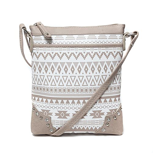 Aztec Tribal Print Letter Carrier Style Crossbody Bag Purse - Medium Size Fits Smaller Tablets