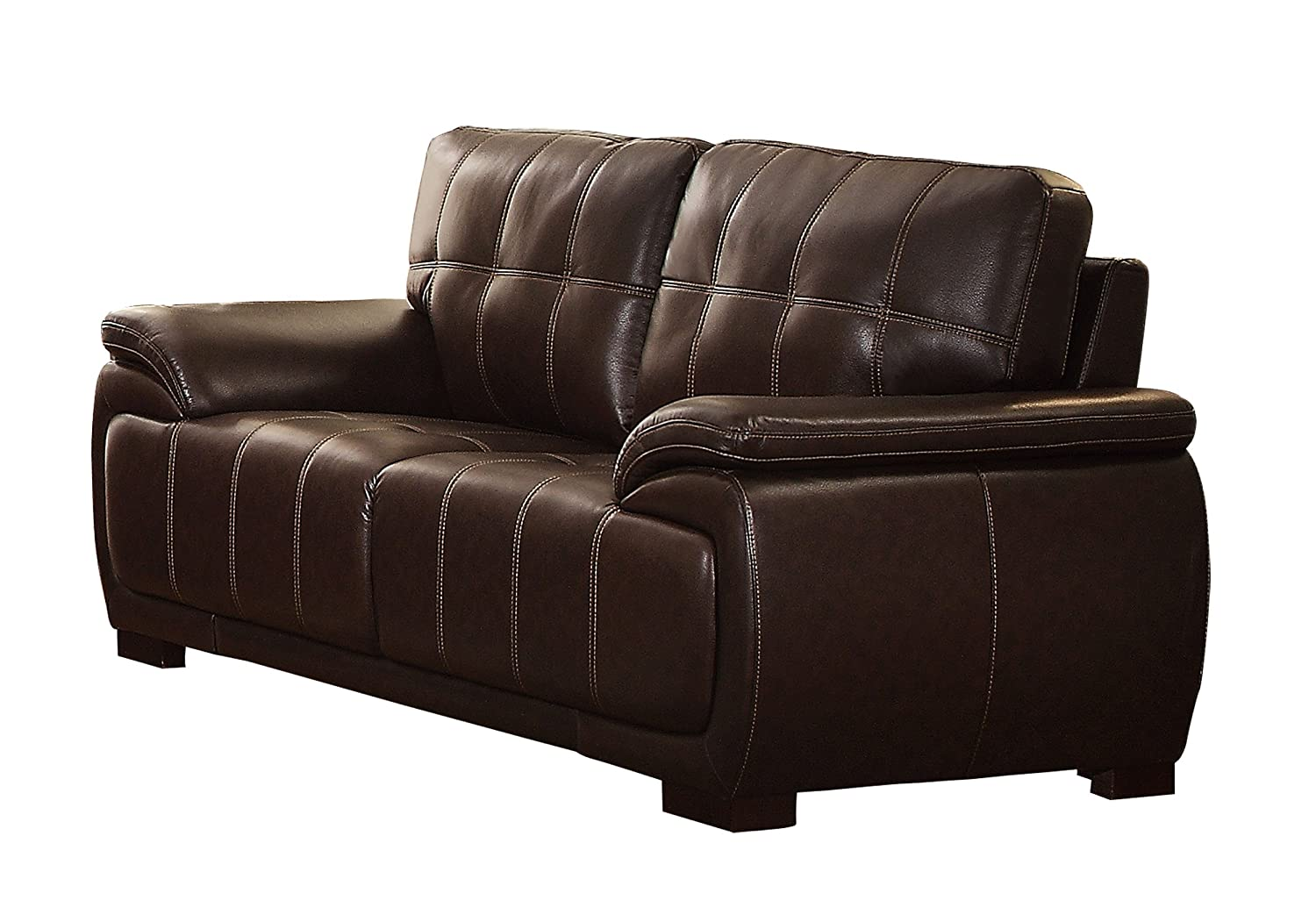 Homelegance Alpena Modern Comfortable Love Seat AireHyde Breathable Faux Leather - Dark Brown
