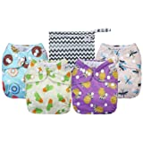 Anmababy 4 Pack Adjustable Size Waterproof Washable Pocket Cloth Diapers with 4 Inserts and Wet Bag(Purple) (Color: Purple, Tamaño: 16x8x1.8 inches)
