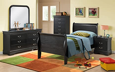 New Louis Philippe Sleigh Twin Size Bed Frame Black Finish