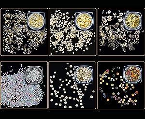 ANGNYA Mixed Nail Art Rhinestones - 12 Wheels Crystal Rhinestones Set Glitter Diamonds Crystals Beads Mixed Colorful Gems Gold Nail Metal Rivets Hollow Moon Star Triangle Shaped DIY 3D Nail Art Decora