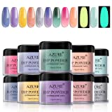 Dipping Nail Powder Kit with 10 Colors Including 3 Changing and 2 Fluorescent Dip Powders Nails Set for French Nail Manicure Nail Art No UV/LED Nail Lamp Needed (Color: DPDL)