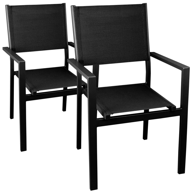 2x Aluminium Gartenstuhl, stapelbar, hochwertige 4×4 Textilenbespannung, schwarz/schwarz – Stapelstuhl Gartensessel Bistrostuhl Stapelsessel Balkonmöbel Gartenmöbel Terrassenmöbel Sitzmöbel günstig