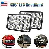 4X6 LED Headlight Bulb H4656 H4 Conversion Kit For Peterbilt/Kenworth/Ford/Chevrolet/GMC - 6000k White High Low Dual Sealed Beam Fog Main Lights (Package of 4)