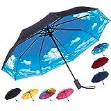 Rain-Mate Compact Travel Umbrella - Windproof, Reinforced Canopy, Ergonomic Handle, Auto Open/Close Multiple Colors (Blue Sky) (Color: Blue Sky, Tamaño: One Size)