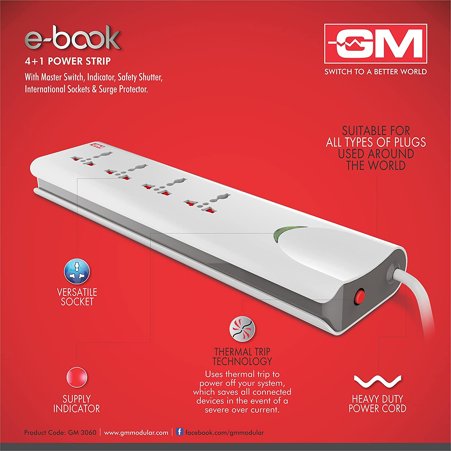 Gm 3060 Ebook 4+1 Spike Guard(with Master Switch, Indicator, Safety  Shutter, International Sockets ): Amazon: Home Improvement