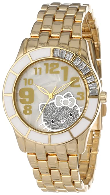 Hello Kitty Enamel Bezel Metal Bracelet Faux Mother-Of-Pearl Dial Watch