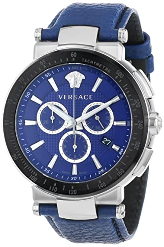 "Versace Men's VFG020013 ""Mystique Sport"" Stainless Steel Watch with Leather Band"