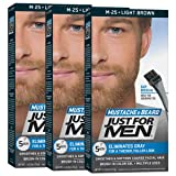Just For Men Mustache & Beard Brush-In Color Gel, Light Brown (Pack of 3)