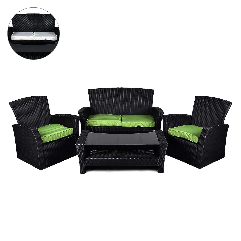 Rattan Set 4tlg mit Glastisch grün Garnitur Gartenmöbel Sitzgruppe Poly Rattan, nkl. höhenverstellbare Füße und Sicherheitsglas kaufen