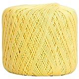 Threadart 100% Pure Cotton Crochet Thread - SIZE 3 - Color 6 - LEMONADE -2 sizes 27 colors available (Color: LEMONADE, Tamaño: SIZE 3 SINGLE)