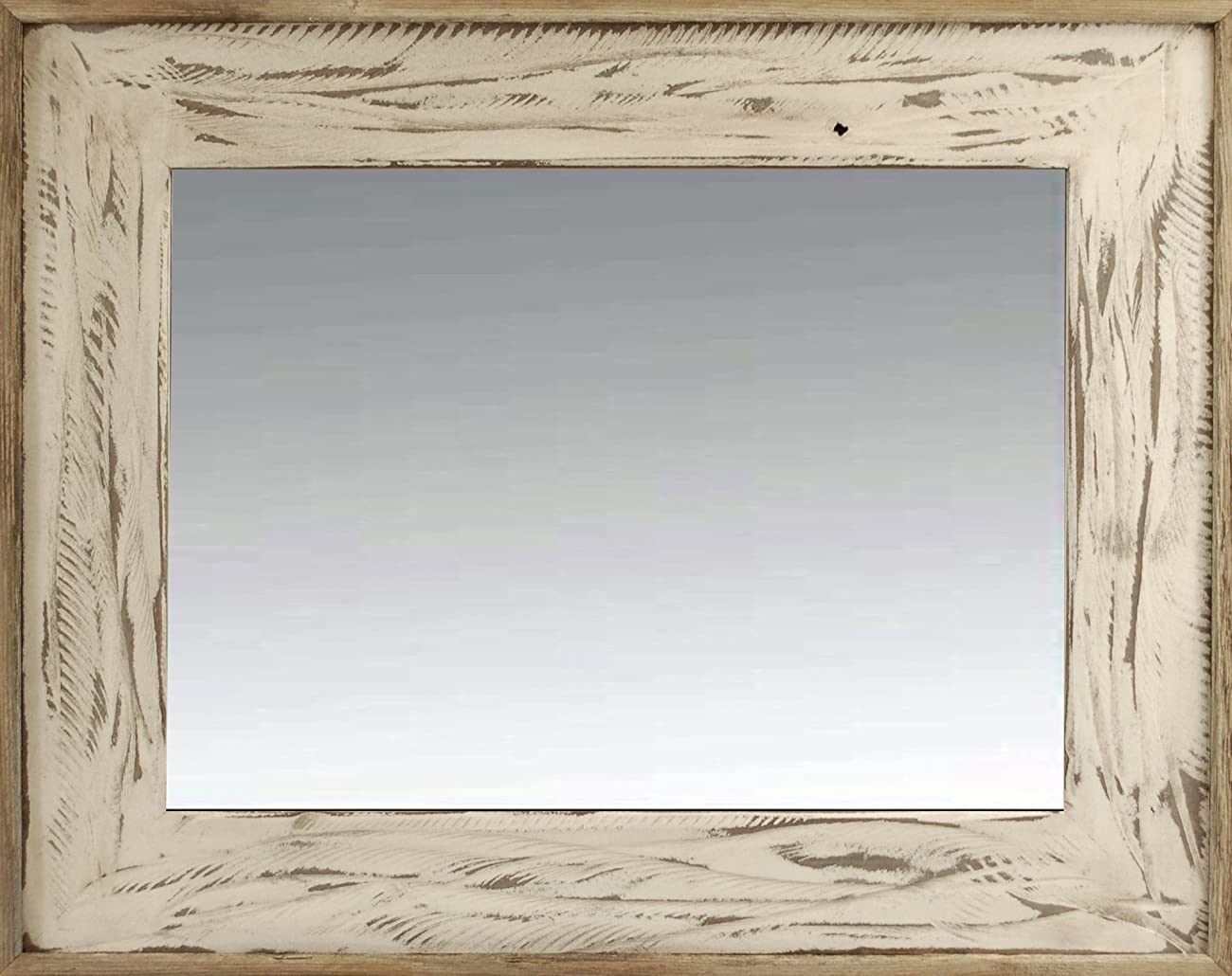 18x26 Rustic Denali Antique White Heavily Distressed Wood Mirror 0