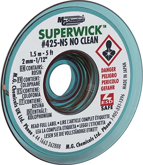 MG Chemicals #3 No Clean Super Wick Desoldering Braid, 0.075 Width x 5' Length, Green