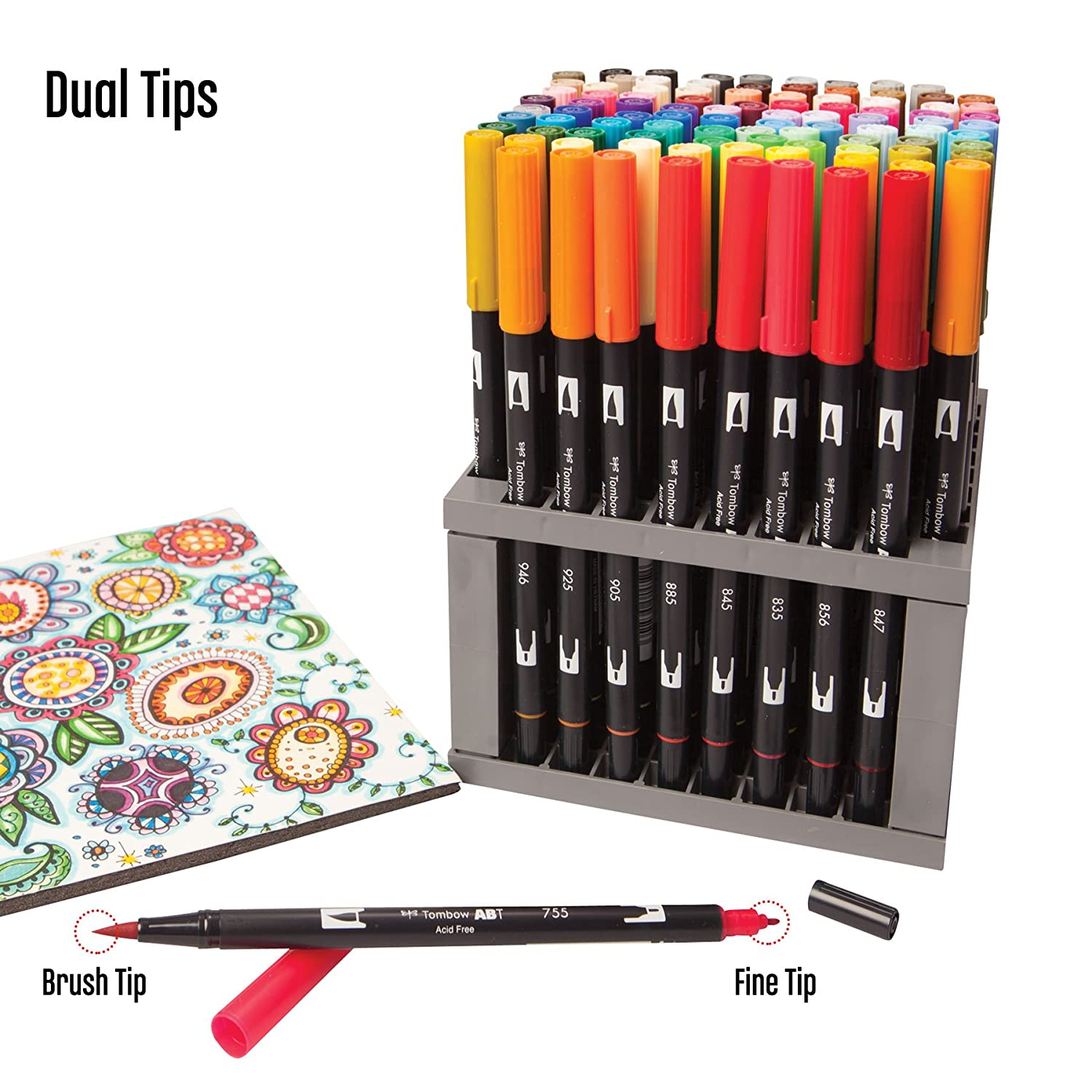 Art color markers - Tombow Permanent Markers Dual Brush Pen Professional Fine Art Crafts 96 Colors