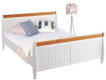 Bett REMY in verschiedener Größe 140cm/160cm/180cm zur Auswahl aus Kiefer massiv in gebeizt geölt/ weiß & honig (80, 62)
