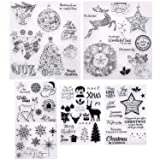 6 Sheets Christmas Theme Clear Stamps Different Style Christmas Silicone Clear Stamps with Snowflake Santa Deer Tree Pattern for Card Making Decoration and DIY Scrapbooking