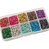 Summer-Ray SS10 2.8mm Assorted Color Hot Fix Rhinestuds in Storage Box (Color: Multi, Tamaño: SS10)