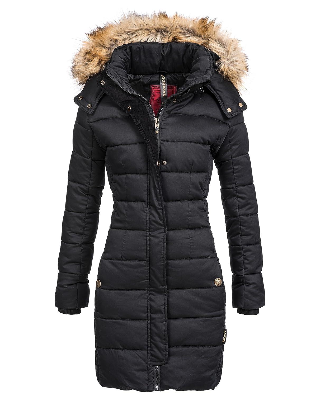 Winterjacke | Wintermantel | Stepp-Mantel für Damen von Navahoo – eleganter Kurz-Mantel im schlanken Parka-Stil mit Fellkapuze aus Kunstpelz auch für den Übergang Herbst / Winter YM127 jetzt kaufen