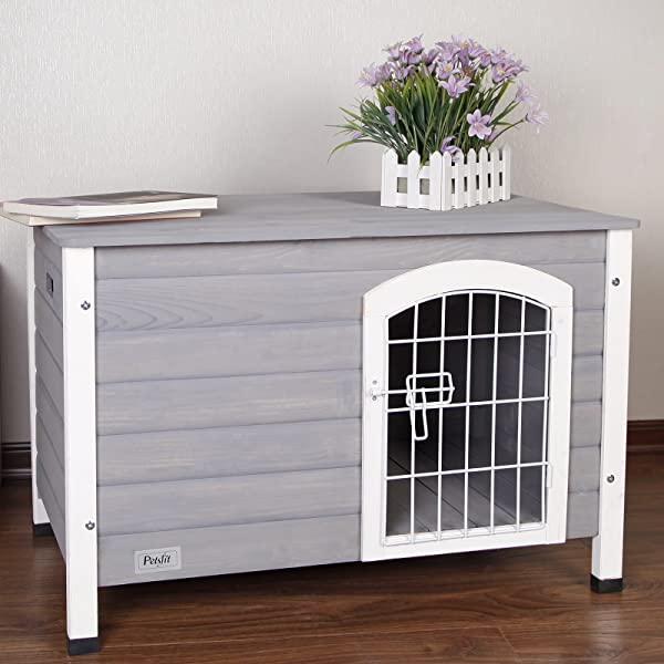 Petsfit Indoor Wooden Dog House with Wire Door for Small Dog Grey 31.5 x 21.5 x 21 Inches (Color: Grey, Tamaño: 31x20x20)