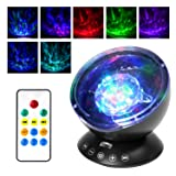 [Newest Design] Projection Lamp, ATiC Remote Control LED Night Light with 7 Flash Modes, Music Speaker, Relaxing Light Show for Baby Nursery, Adults and Kids Living Room & Bedroom - 12 LED Black (Color: Black)