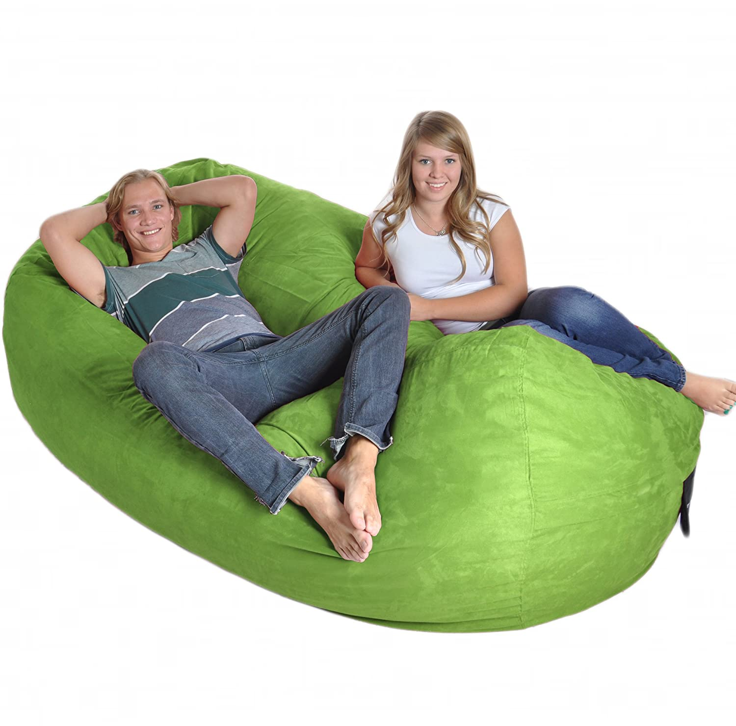 8' Oval Lime Green SLACKER sack foam Bean Bag Couch XXL Beanbag Chair