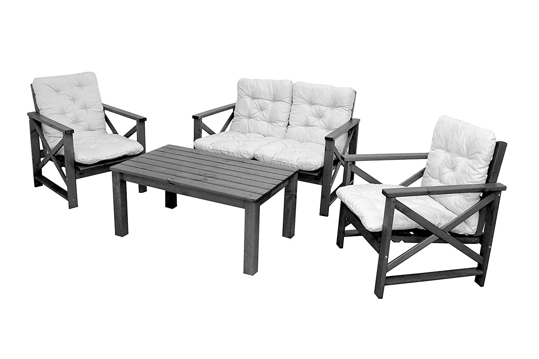 4tlg. Sitzgruppe Loungegruppe OSLO taupe grau braun inkl. Auflagen Sofa Sessel und Coffeetable