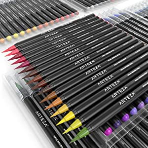 Arteza Real Brush Pens, 96 Paint Markers with Flexible Brush Tips, Professional Watercolor Pens for Painting, Drawing, Coloring with Water Brush, 100% Nontoxic (Color: 96 Colors)