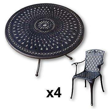 Lazy Susan - ALICE 120 cm Runder Gartentisch mit 4 Stuhlen - Gartenmöbel Set aus Metall, Antik Bronze (ROSE Stuhle)