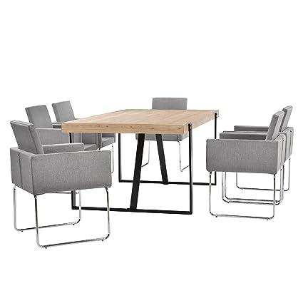 [en.casa] Mesa de comedor roble -claro 183cm x 104cm x 76cm + sillas gris claro 82,5 cm x 54cm - Conjunto de comedor