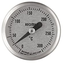 "Thermo Scientific ELED MEX126 Bi-Metallic 25mm Dial Thermometer For SAFE-T HP6 Explosion-Proof Hotplate, 0.25"" Stem Diameter, 2.5"" Length, 0 to 300 Degree C"
