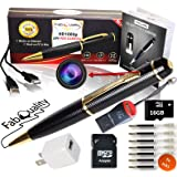 FabQuality 1080p HD Hidden Camera Spy Pen BUNDLE 16GB SD Micro Card + USB card Reader + 7 INK FILLS + updated battery + USB Plug! - Record Executive Multifunction DVR. Perfect Gift
