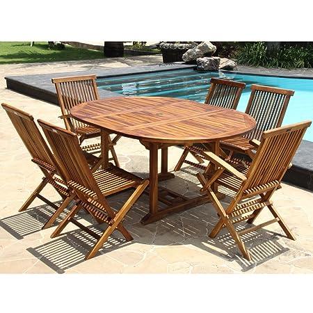 Salon de jardin en bois de teck huilé 6/8 personnes - Table ovale larg 120cm long 120/170cm + 4 chaises + 2 fauteuils pliants
