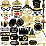 New Years Photo Booth Props- Pack of 43, Sturdy Cardstock | 2020 New Years Eve Photo Props Decorations Supplies | Great for Oscars Awards Themed New Year Party Decorations | New Years Eve Party Supplies (Color: Black and Gold)